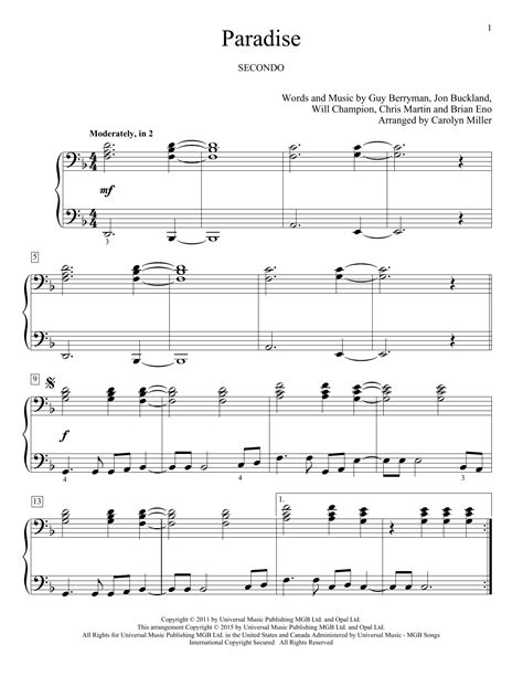 coldplay paradise chord paradise sheet music by coldplay piano duet 162360