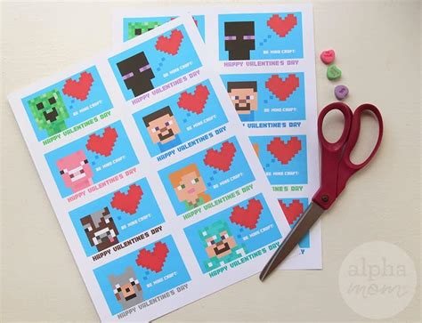 Printable Cards For Classmates minecraft s day cards for classmates alpha