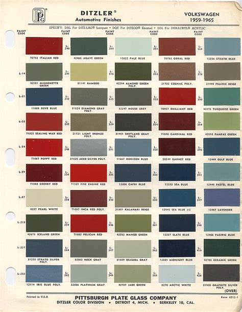 vw original paint color chart cars i volkswagen paint colors and charts