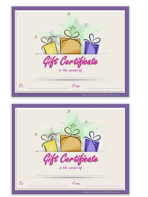gift cards template printable gift certificate template birthday lamoureph