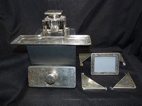 desk set sterling with inkwell from therandjcollection on
