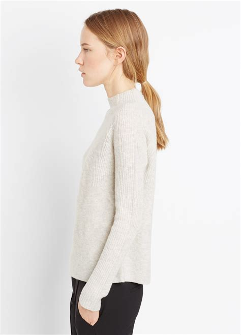 Mock Neck Rib Sweater vince directional rib mock neck sweater in gray
