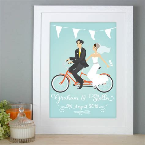 personalised wedding gift bride and groom print by