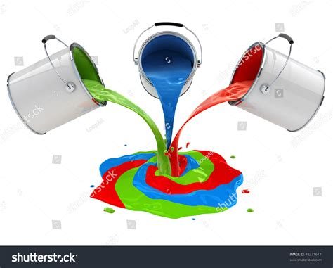paint mixing color paint pouring buckets mixing 3dillustration stock illustration 48371617
