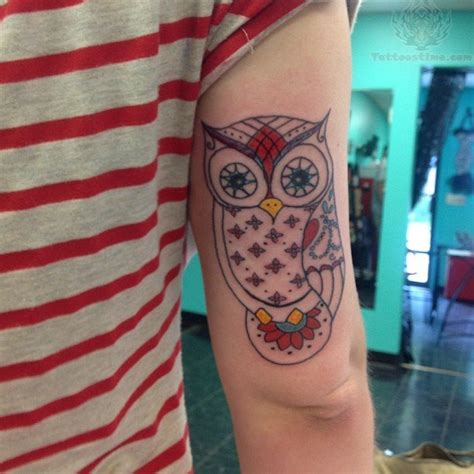 colorful owl tattoo beautiful color owl on bicep