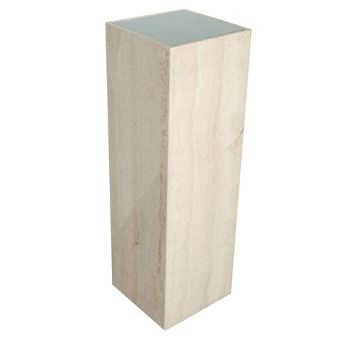 Pedestals And Columns Mid Century Modernist Travertine Marble And Glass