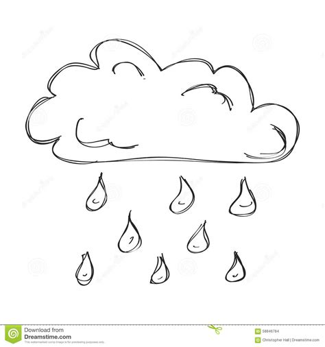 doodle rian simple doodle of a cloud with stock vector image