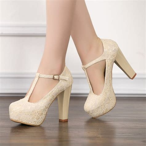 Wedding Shoes Chunky Heel by Ivory Lace Heels T Wedding Shoes Chunky Heel Pumps