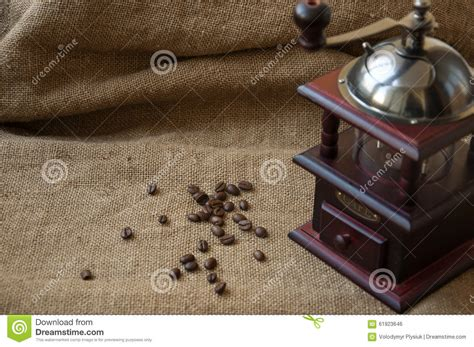 coffee sack wallpaper coffee beans and coffee grinder close up on the