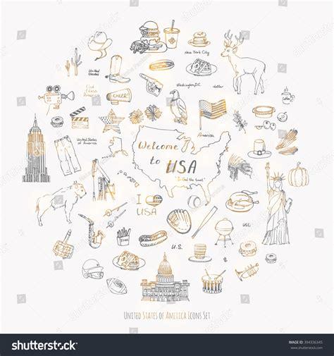 fast food doodle god doodle usa set vector stock vector 394336345