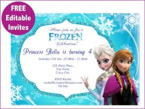 free printable invites templates 9 best images of frozen birthday invitations editable
