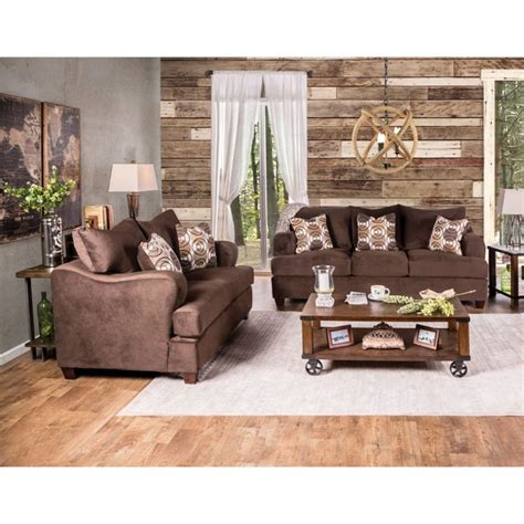 furniture of america tremble 2 sofa set in chocolate