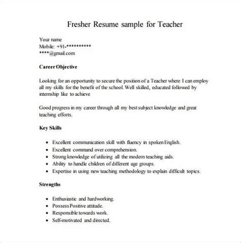 Sle Career Objective For A Fresher Resume Resume Format For Fresher Svoboda2