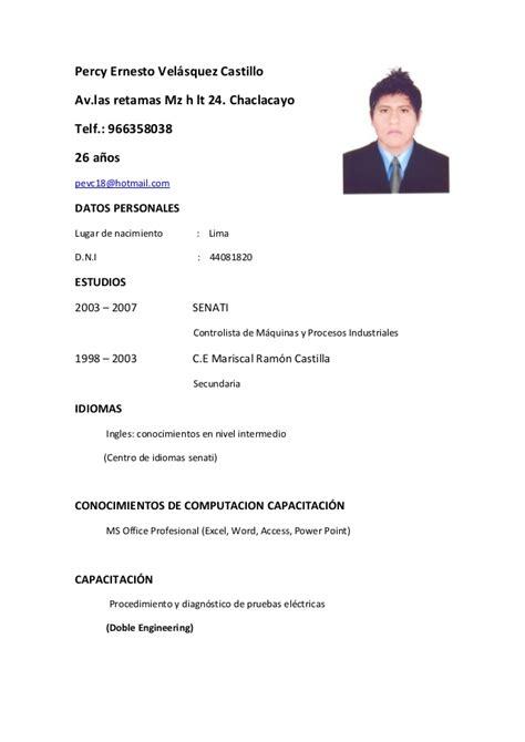 Modelo Curriculum Vitae Basico Peru Curriculum Percy