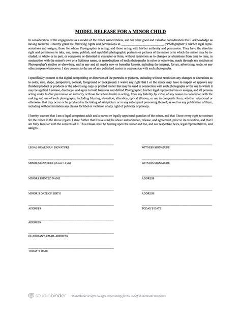 release form template for children the best free model release form template for photography