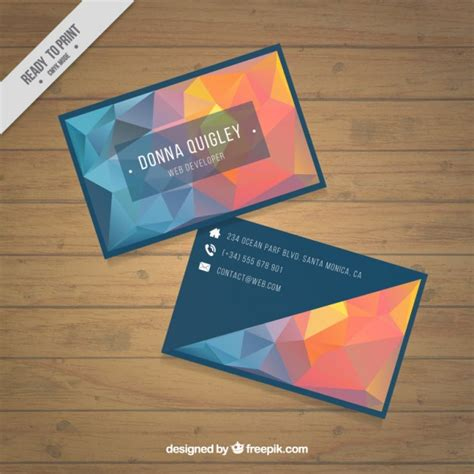 free orange and blue business card templates polygonal business card in blue and orange tones vector