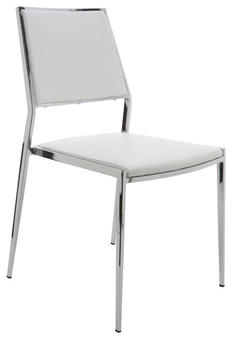Modern Stackable Dining Chairs Aaron Stackable White Dining Chair By Nuevo Hgbo175 Modern Dining Chairs By Ebpeters