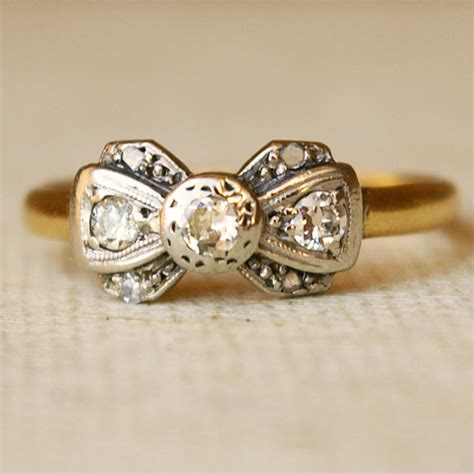 1920 s platinum 18k gold ribbon bow ring size