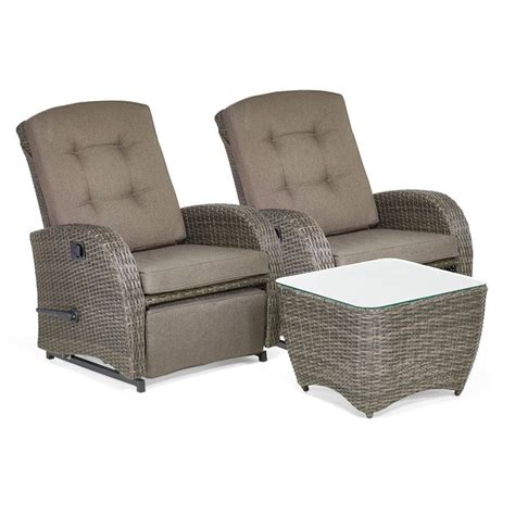 bellevue 2 seater reclining rattan garden furniture set