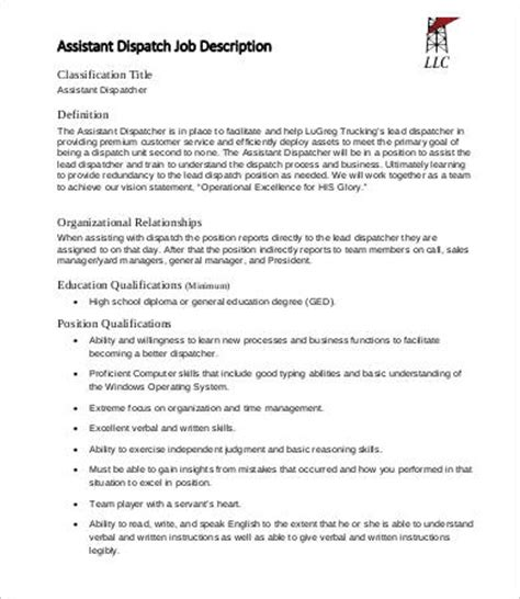 10 dispatcher description templates pdf doc free