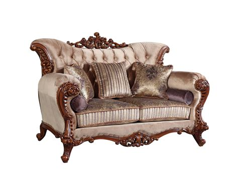 sofas with wood accents bordeaux carved wood beige tufted sofa loveseat set with
