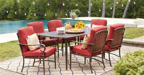 hampton bay  piece metal outdoor dining set  cushions