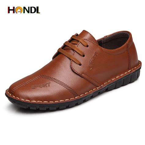 Mens Leather Shoes Handmade - 2016 sale synthetic leather flats black brown