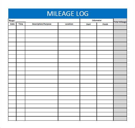 mileage log form image result for free printable mileage log form