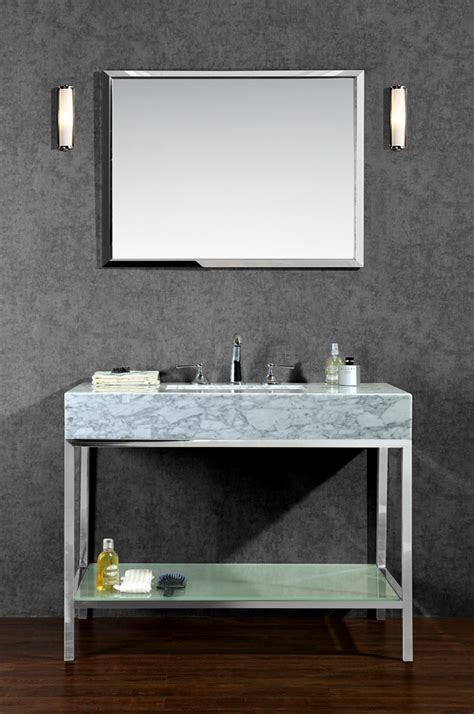 bathroom sink and mirror ariel brightwater 48 quot single sink bathroom vanity set with mirror constructed of stainless steel