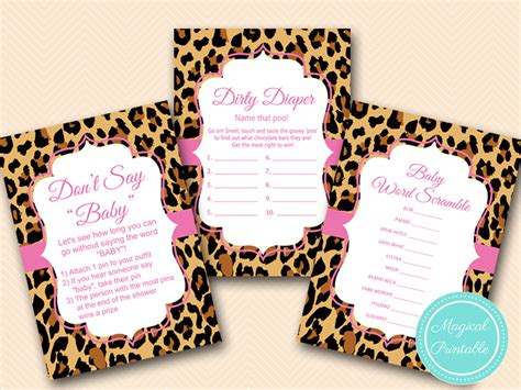 Pink Leopard Baby Shower Theme by Pink Leopard Baby Shower Printables