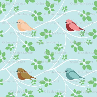 18922 Green Flower Print medium white branches and birds fabric