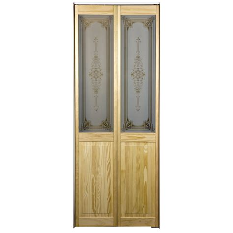 Lowes Bifold Closet Doors Shop Pinecroft 1 Lite Solid Pine Bifold Closet Door Common 30 In X 80 5 In Actual 29 5
