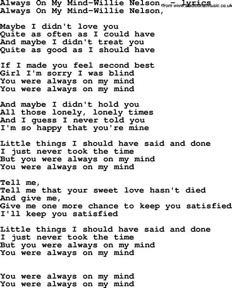 lyrics willie nelson song lyrics for always on my mind willie nelson