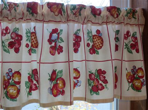 kitchen curtain fabrics retro kitchen curtain valance new fabric 48 x 13 1 2 fruit