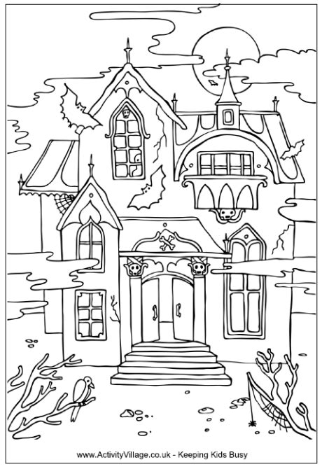 Teaching Frenzy Halloween Haunted Houses Haunted House Colouring Pages