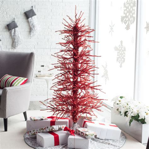 ft pre lit red tinsel twig christmas tree  sterling