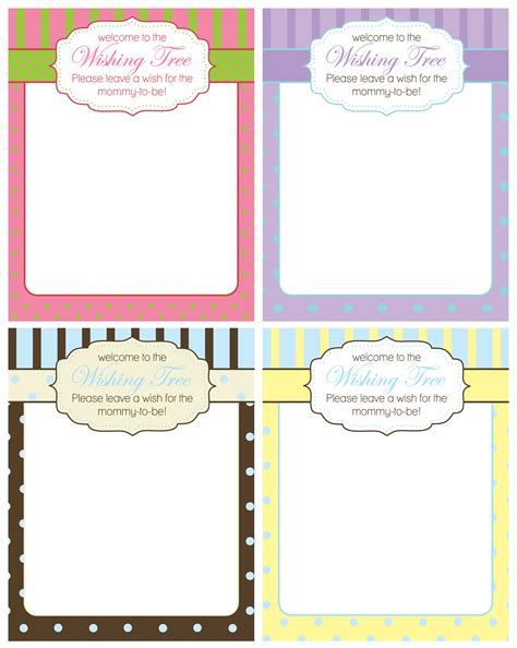 free baby shower wishing tree cards from a studio