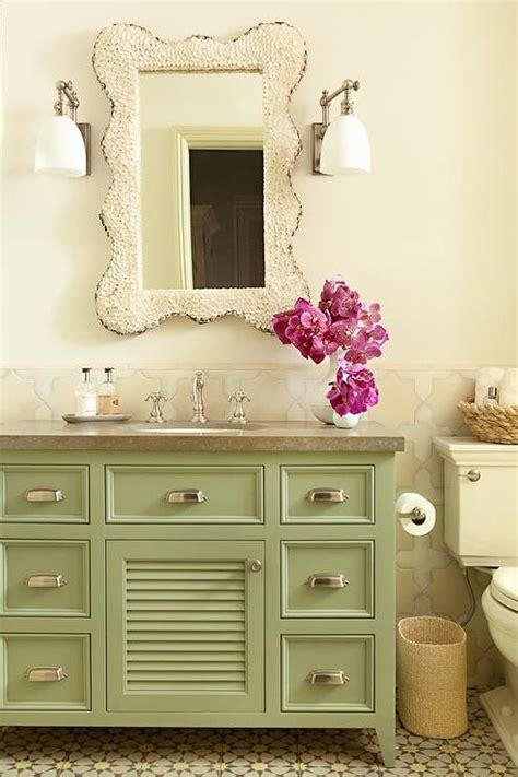 green vanity bathroom brown sofa with white accent chairs transitional