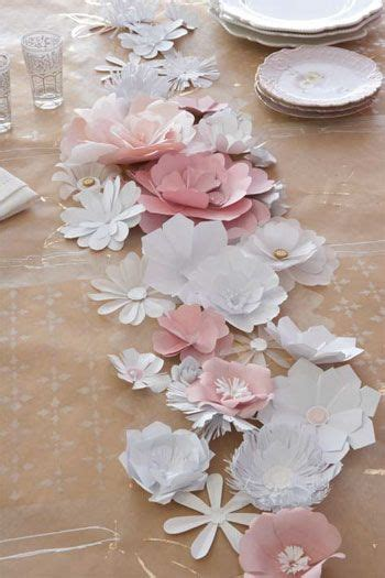 pink paper table runner paper table pink paper and paper flowers on