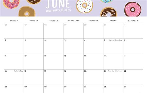 june  calendar printable blank template  holidays