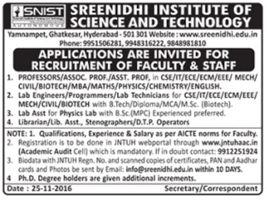 Mba In Biotechnology Salary by Sreenidhi Institute Of Science And Technology Hyderabad
