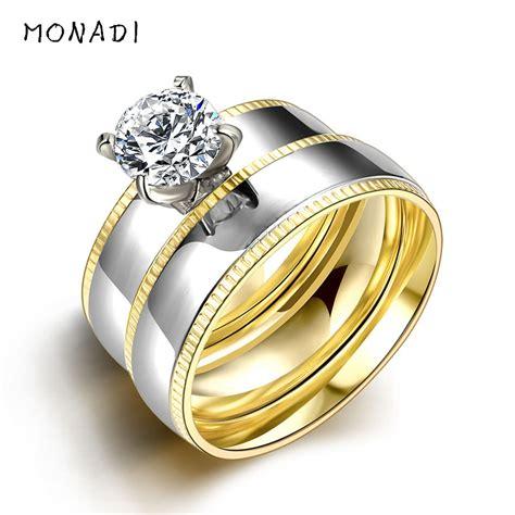 silver titanium steel white sapphire wedding promise ring