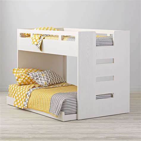 Land Of Nod Bunk Beds Abridged White Glaze Low Bunk Bed The Land Of Nod