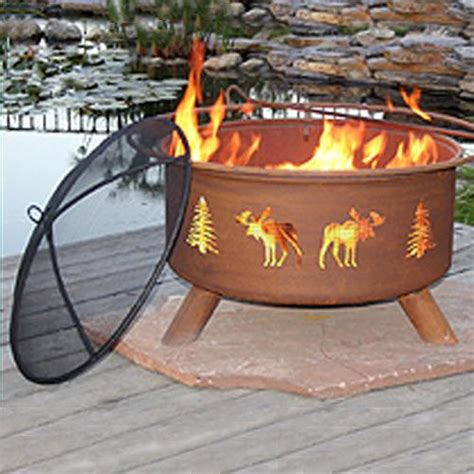 Patina Pit Moose And Tree Patina Fire Pit