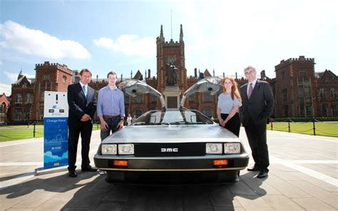 delorean electric conversion a delorean car converted into an electric vehicle by