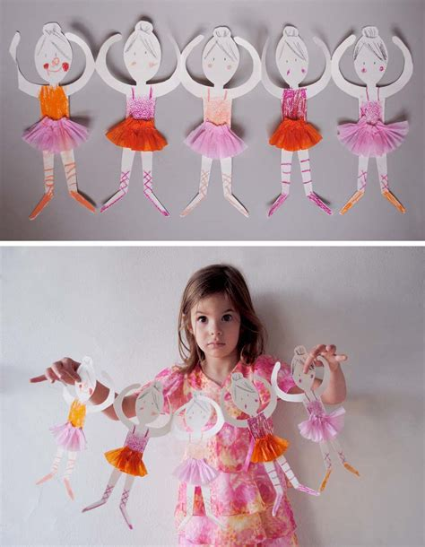 Make Paper Dolls - make ballerina paper doll chain mer mag rockin