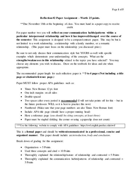 Interpersonal Communication Essays by Interpersonal Communication Reflection Paper 2 Assignment