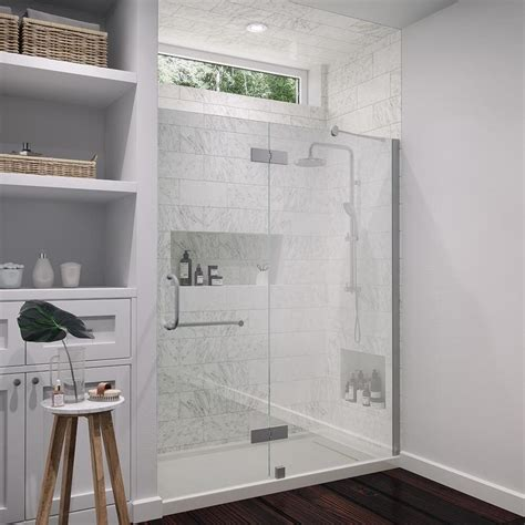 Ove Shower Door Shop Ove Decors Shelby 59 In To 60 In Brushed Nickel Frameless Hinged Shower Door At Lowes