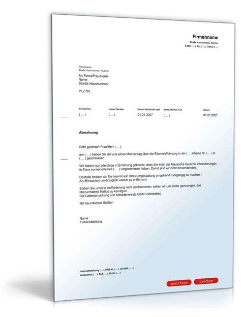 Ich Suche Mietwohnung by Abmahnung Wegen Baulicher Ver 228 Nderung Muster Vorlage Zum