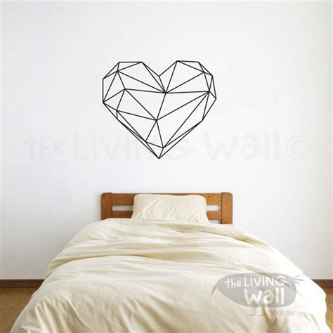heart wall stickers for bedrooms geometric heart wall decal geometric heart wall art